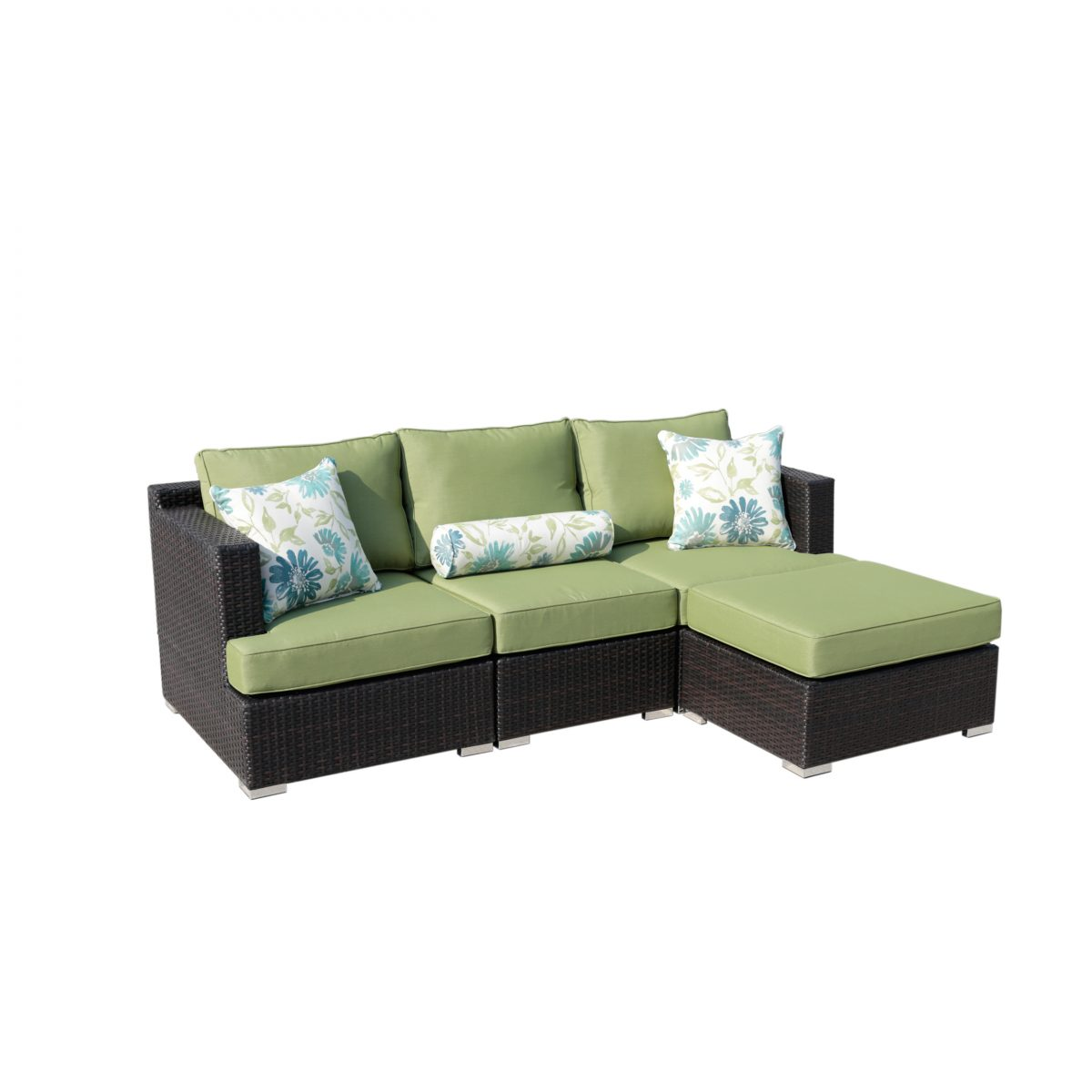 Sirio Soro 4 Piece Brown And Green Resin Wicker Outdoor Furniture Set With Sunbrella Cushions
